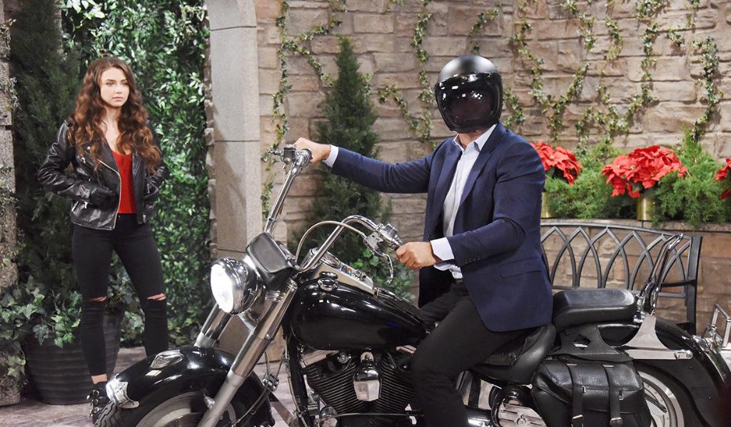 Rafe and Ciara ride Bo's motorbike