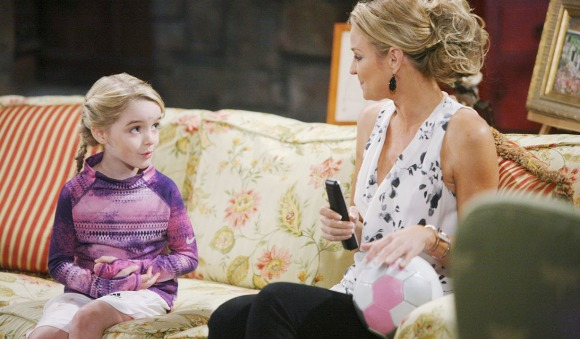 """Sharon Case, Mckenna Grace """"The Young and the Restless"""" Set  CBS television City Los Angeles 04/01/14 © sean smith/jpistudios.com 310-657-9661 Episode # 10401 U.S. Airdate 04/30/14"""