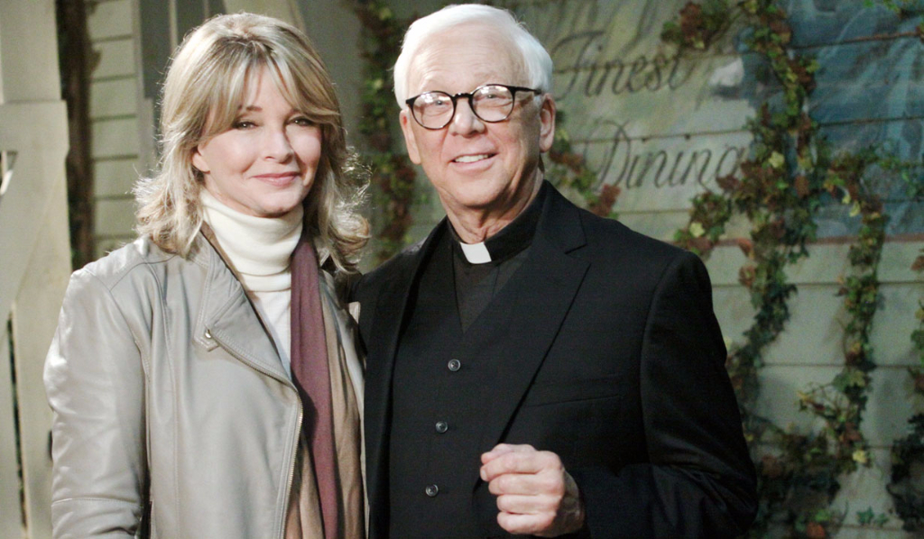 Deidre Hall as Marlena and William Christopher as Father Tobias