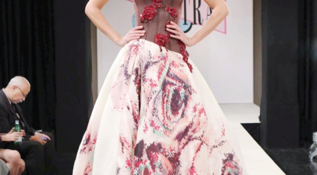 Spectra Fashion Show crimson swirl gown