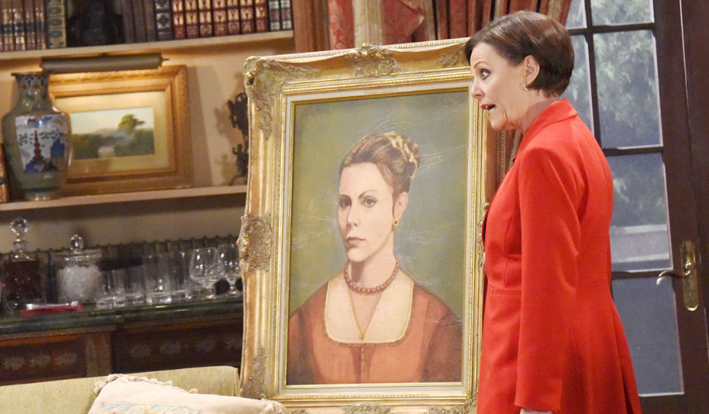 Tracy (Jane Elliot) and the painting her father Edward left her (ChrisD/JPI)