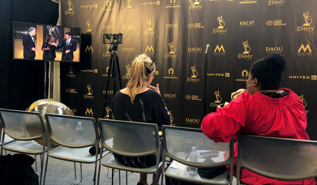 SheKnows Soaps reporter Kristyn Burtt backstage in the press room