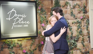 chad and abby hug outside dougs place