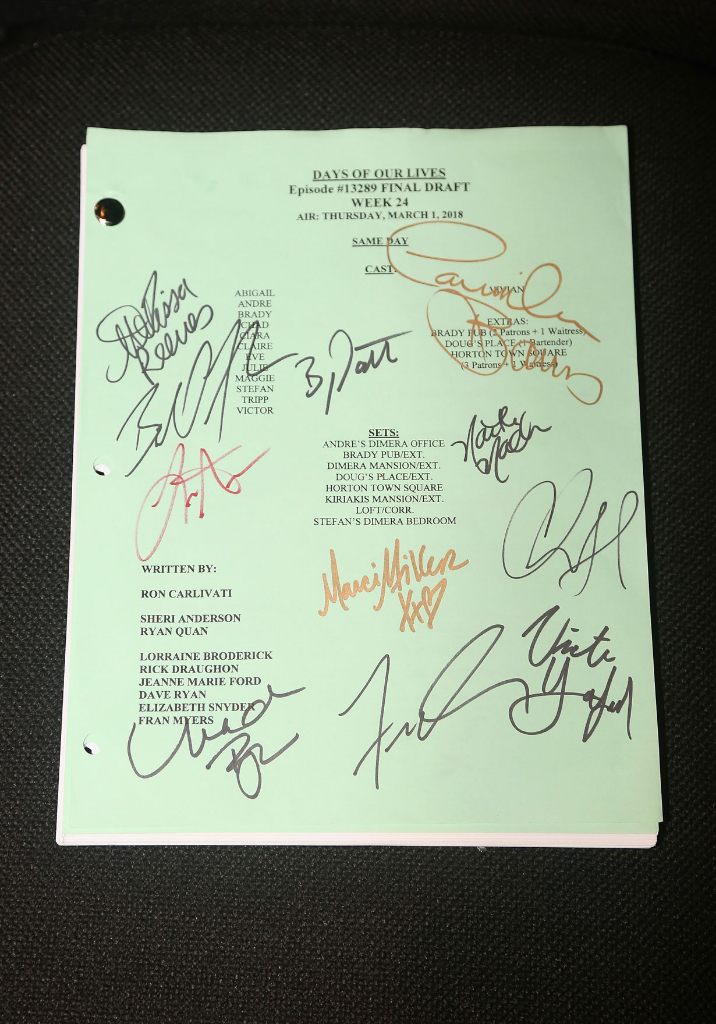 Victoria Konefal's signed Days script at Planet Hollywood