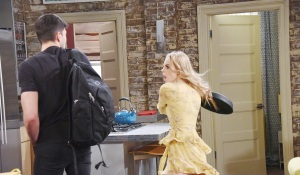 claire hits Ben with a frying pan