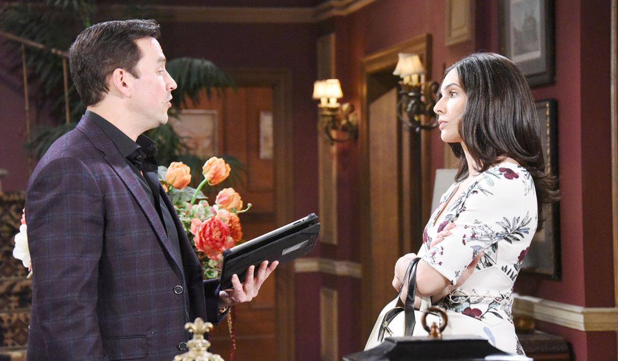 stefan and gabi talk at mansion