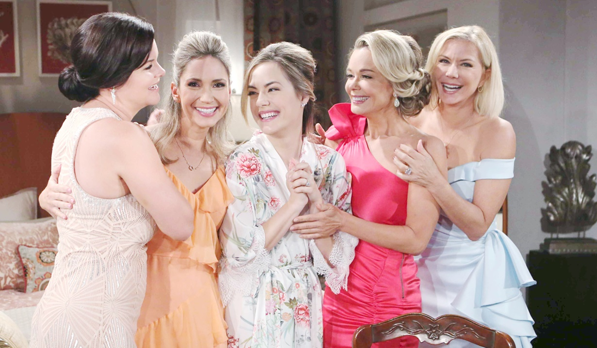 Bridget takes a group shot with Katie, Brooke, Donna and Hope
