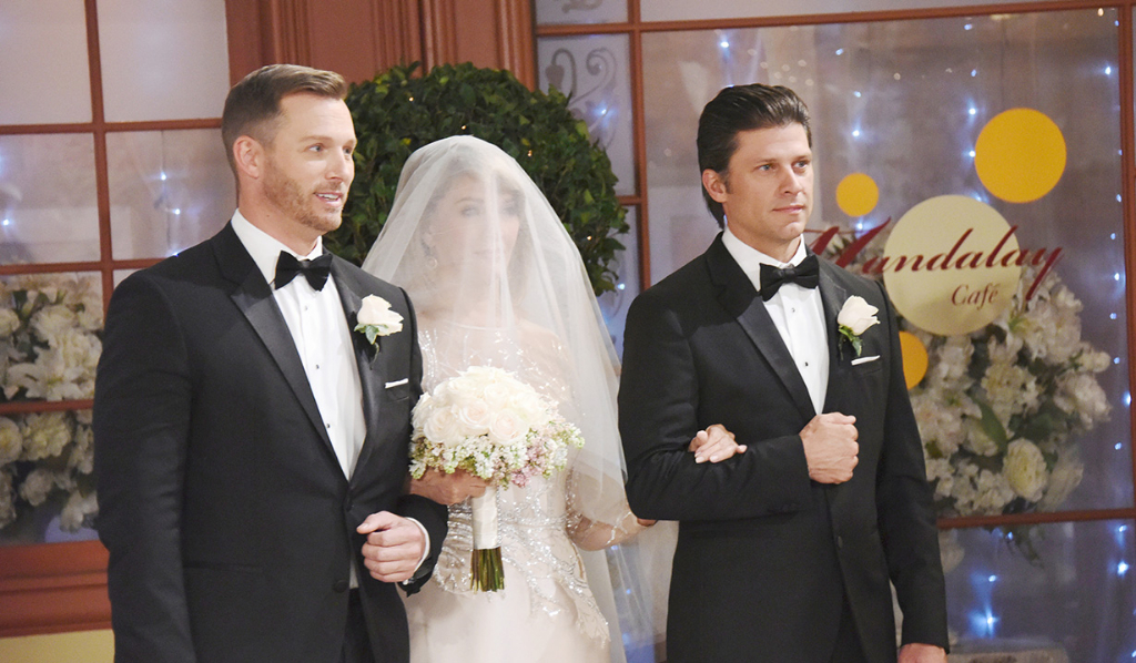 Eric and Brady walk Marlena down the aisle