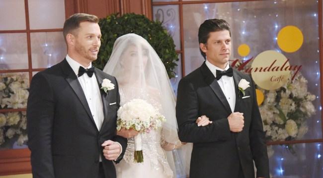 Eric and Brady walk Marlena down the aisle