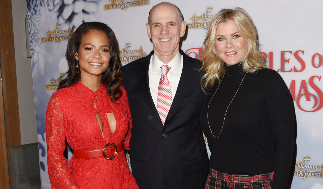 Christina Milian, Hallmark CEO Bill Abbott, Alison Sweeney at holiday party 2018