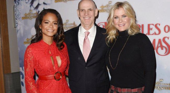 Christina Milian, Hallmark CEO Bill Abbott, Alison Sweeney at holiday party 2018