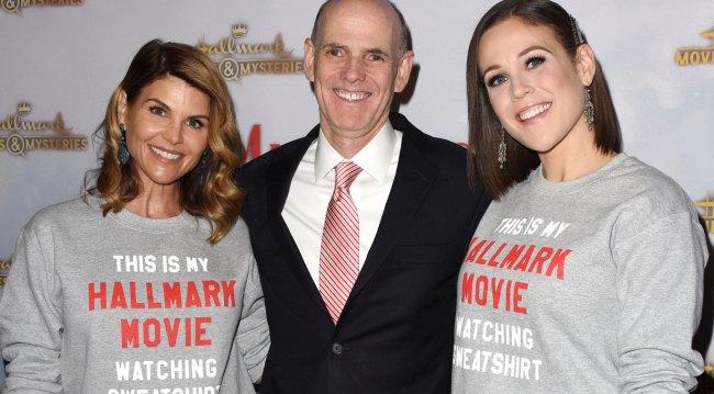 Lori Loughlin, Bill Abbott and Erin Krakow at holiday party 2018