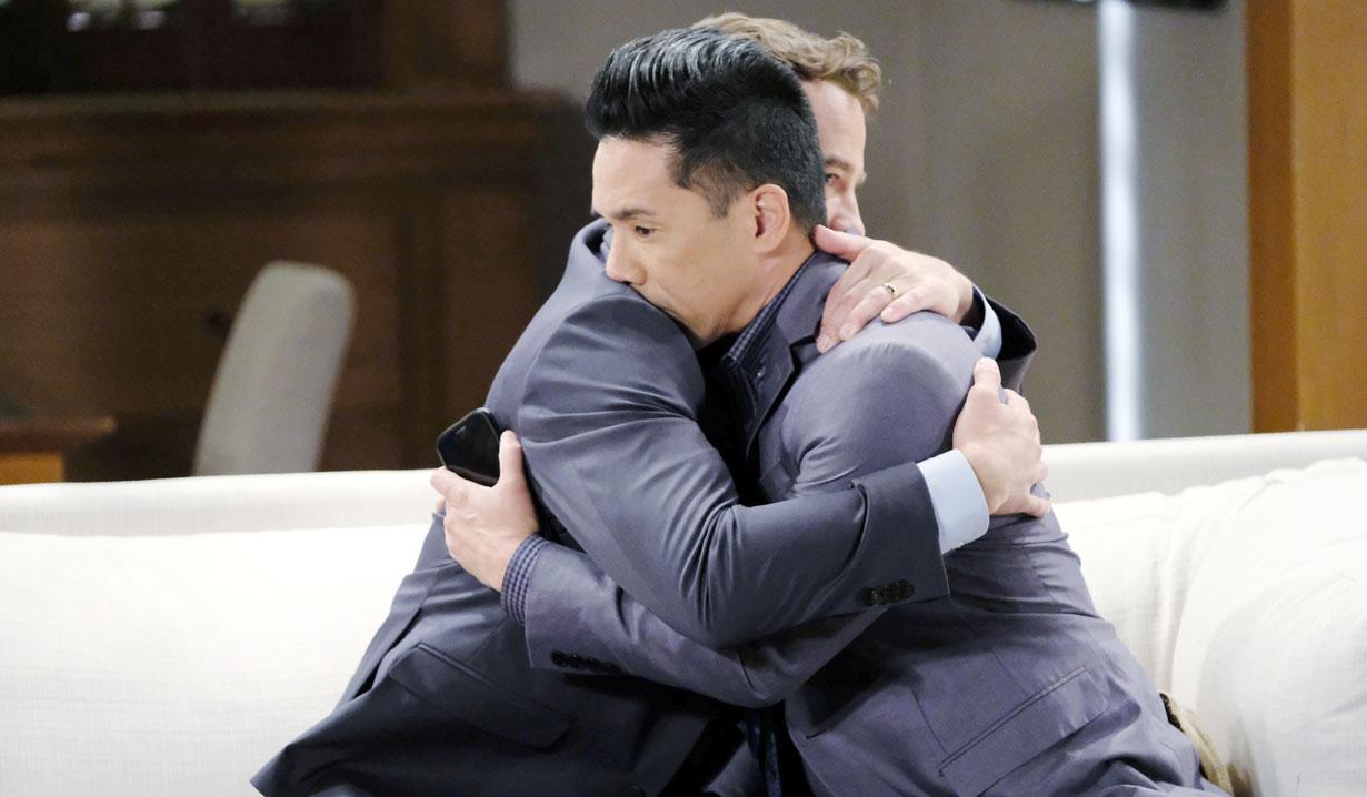 Lucas hugs Brad General Hospital