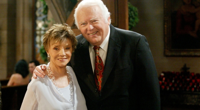 Peggy McCay and Frank Parker as Caroline and Shawn Brady