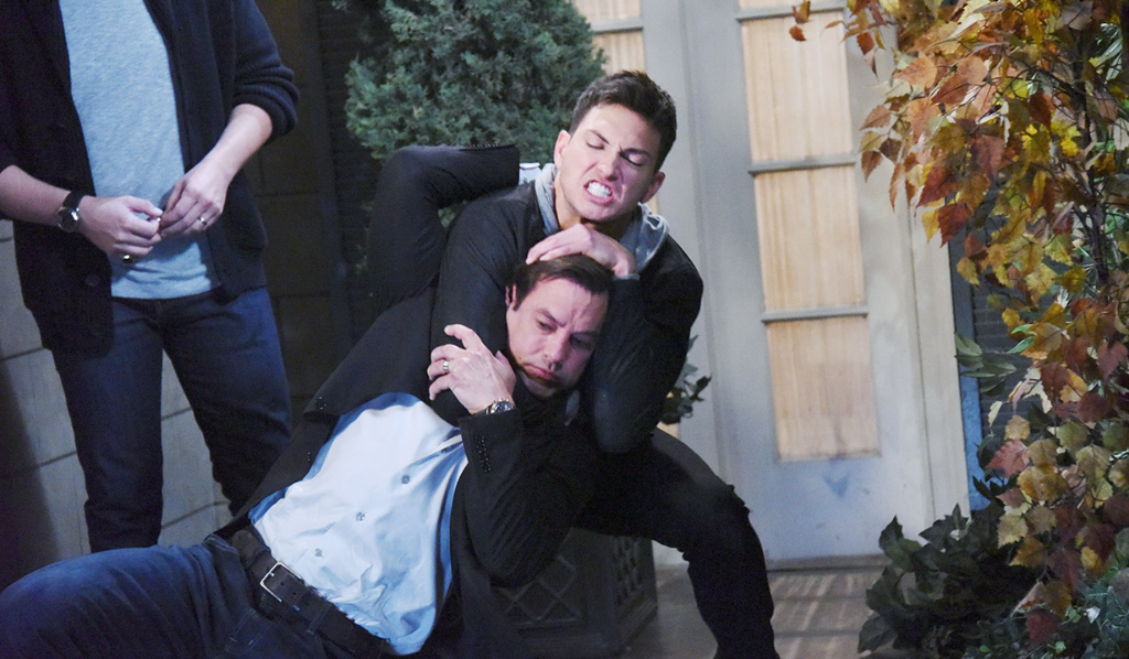 Ben (Robert Scott Wilson) chokes out Stefan (Tyler Christopher)