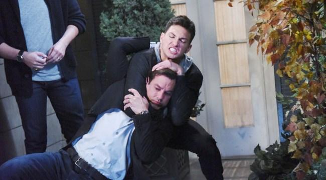 Ben (Robert Scott Wilson) chokes out Stefan (Tyler Christopher)