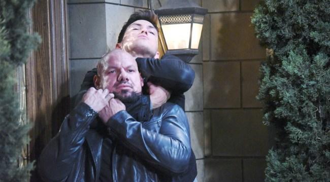 Ben (Robert Scott Wilson) chokes Stefan's guard