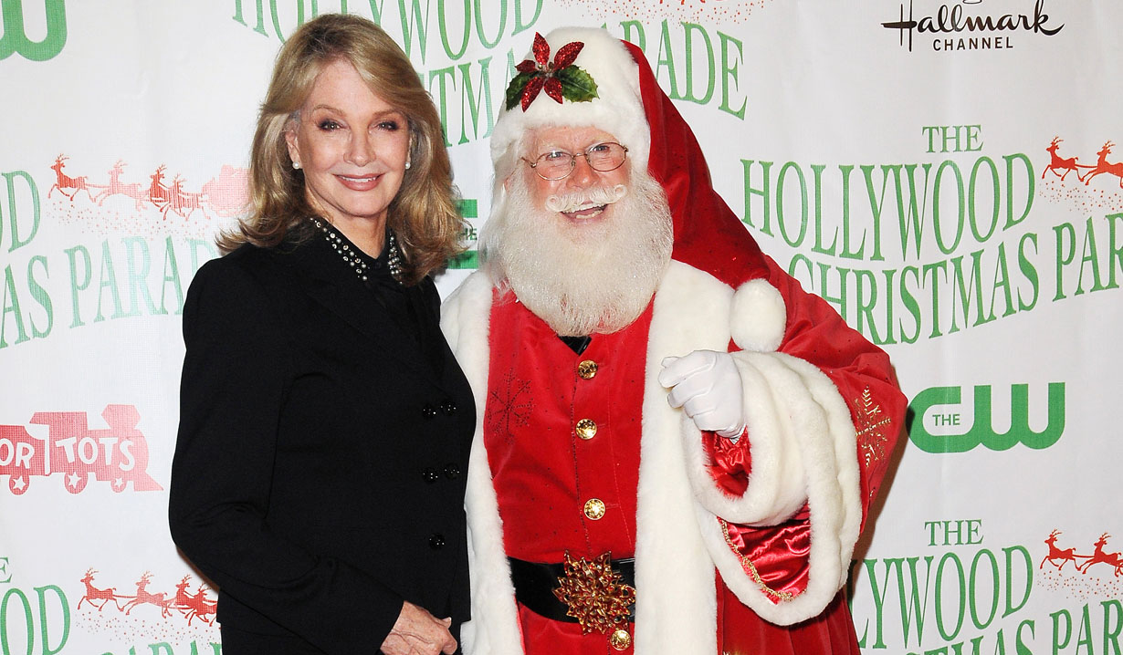 Deidre Hall and Santa at Hollywood Christmas Parade