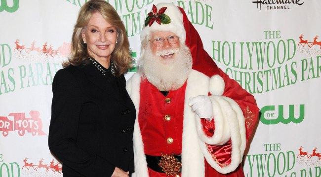Deidre Hall and Santa at Hollywood Christmas Parade