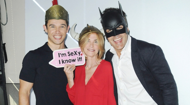 Paul Telfer (Xander), Kassie DePaiva (Eve) and Galen Gering (Rafe) playful at the Days 53rd Anniversary party