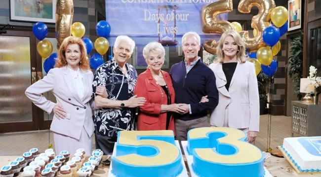 Days' 53rd Anniversary party - Suzanne Rogers (Maggie), Bill Hayes (Doug), Susan Hayes (Julie), Greg Meng, Deidre Hall (Marlena/Hattie)