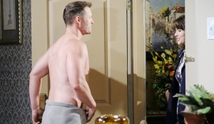 Brady answers door to sarah in towel
