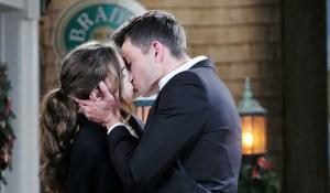 ciara and ben kiss outside the pub