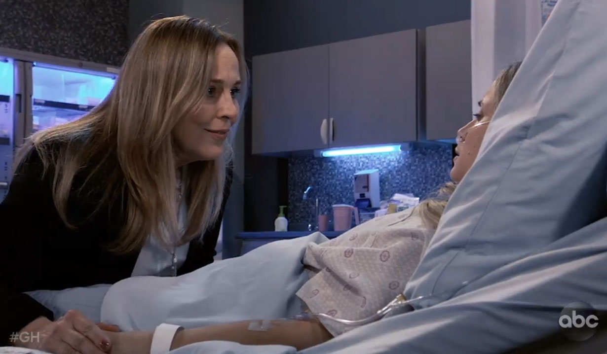 Lauara talks to Lulu as she wakes up GH