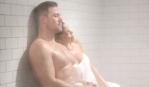 Rick and Maya in steam room