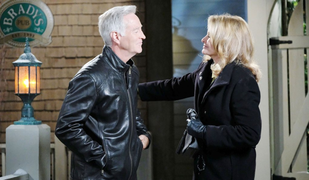 john and marlena talk outside brady's pub