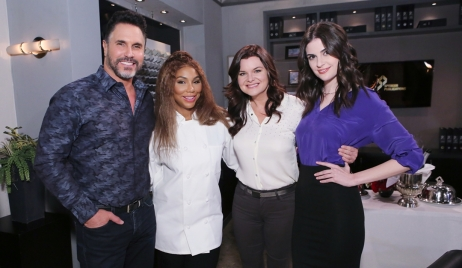 Don Diamont Tamar Braxton Heather Tom Kelleth Cuthbert on set Bold and the Beautiful
