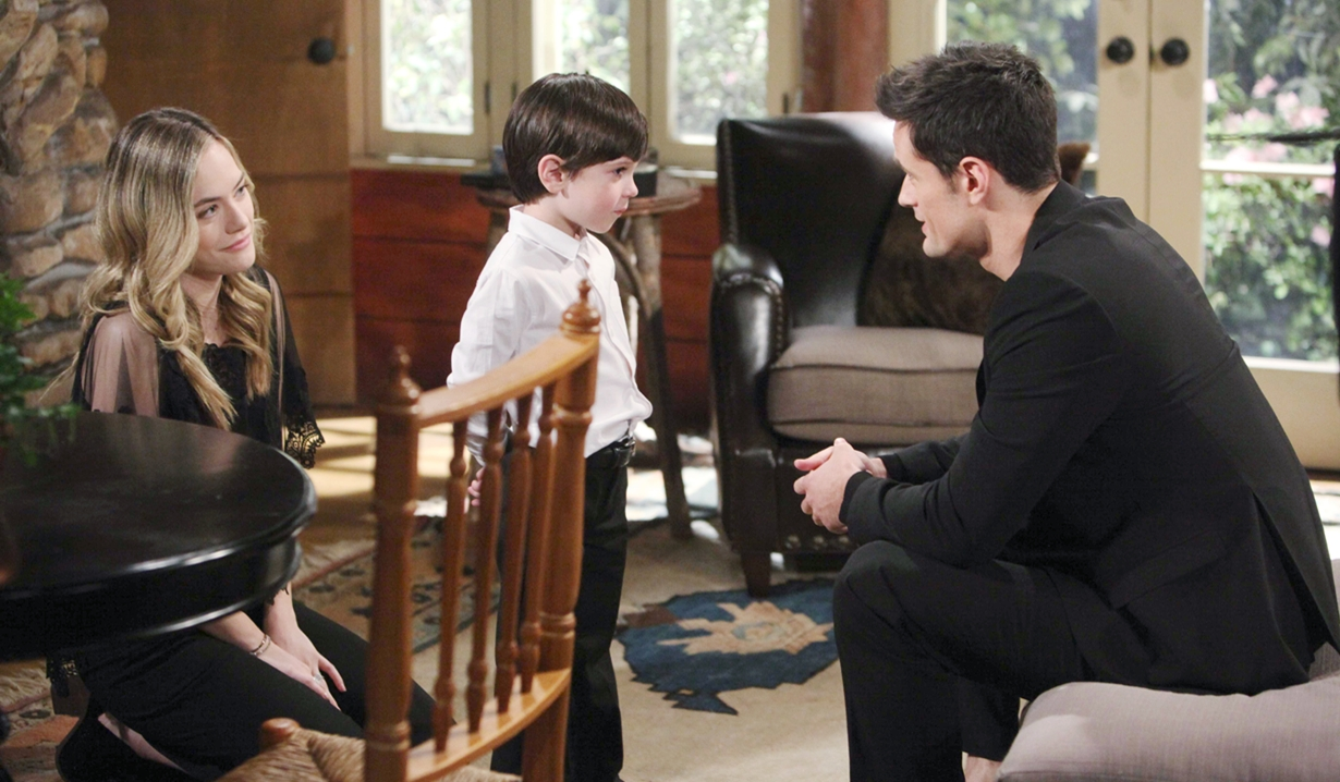 Hope watches Thomas talk to Douglas on Bold and Beautiful