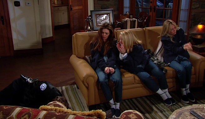 JT Victoria Nikki Sharon in cabin on Young and the Restless