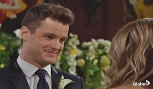 Kyle smiles at Summer wedding on Young and the Restless