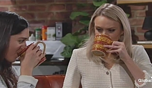 Lola and Abby drink broth on Young and the Restless