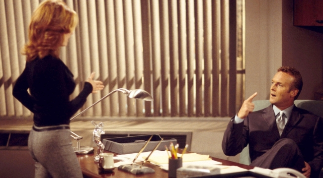 Paul and Lauren in his office on Young and the Restless