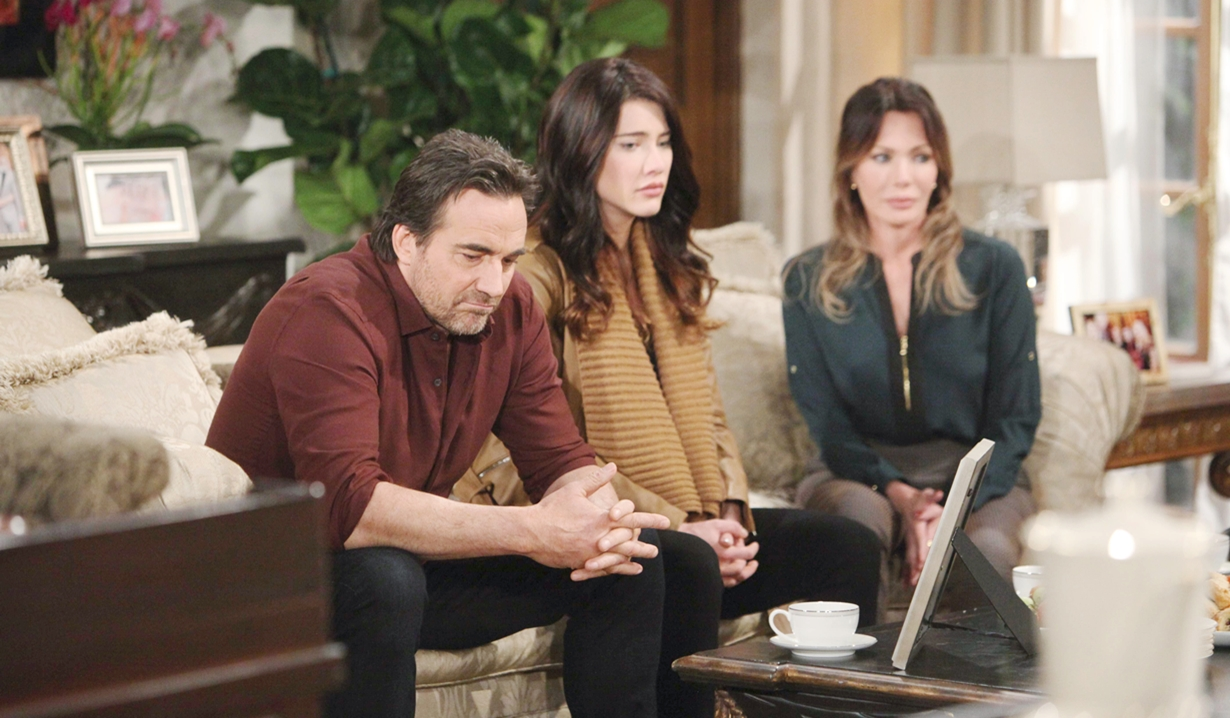 Ridge, Steffy, and Taylor in deep thought on Bold and the Beautiful