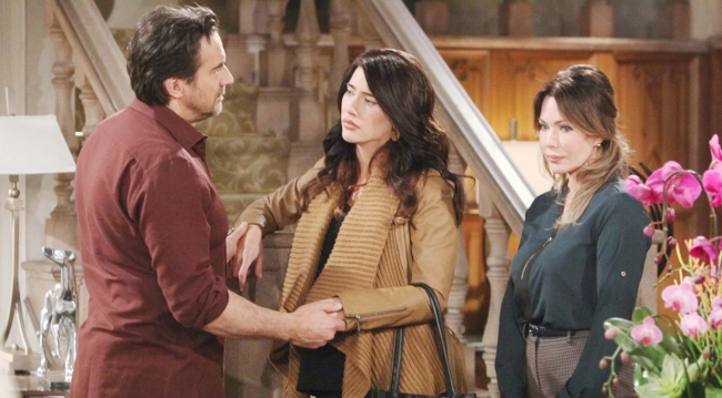 Ridge greets Steffy and Taylor