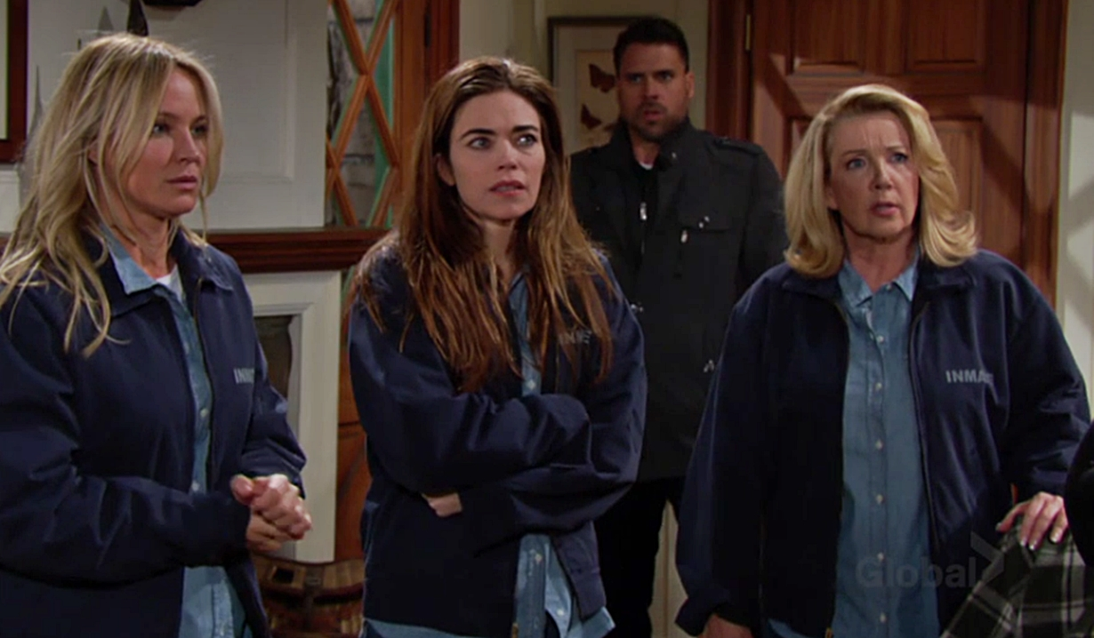Sharon, Victoria and Nikki at the cabin on Young and the Restless