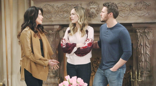 Steffy talks with Hope and Liam on Bold and the Beautiful