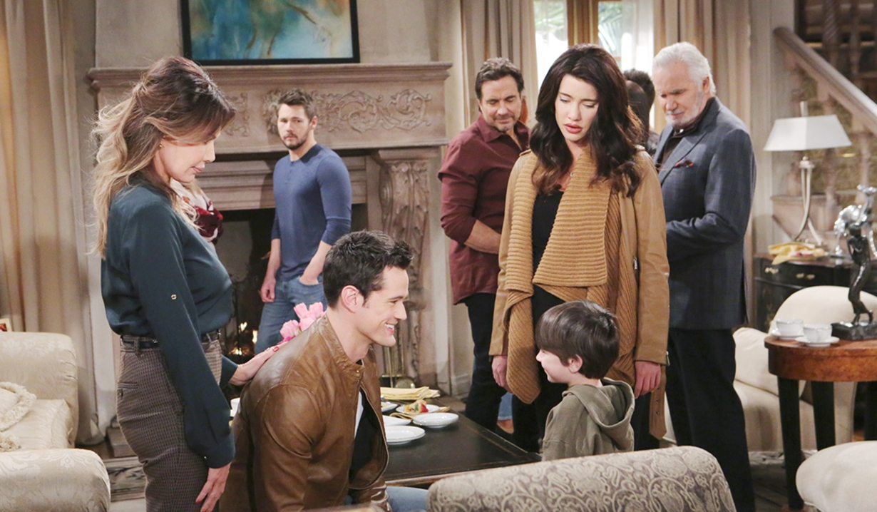 Taylor and Steffy watch Thomas and Douglas on Bold and the Beautiful