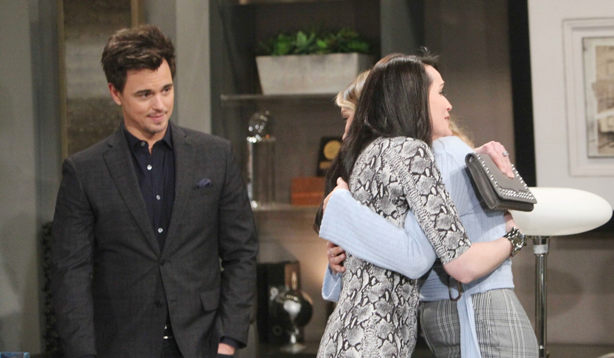 Wyatt watches Quinn hug Flo on Bold and Beautiful