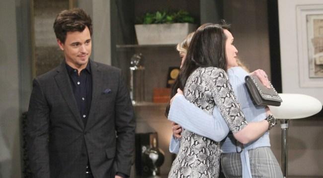 Wyatt watches Quinn hug Flo on Bold and Beautiful