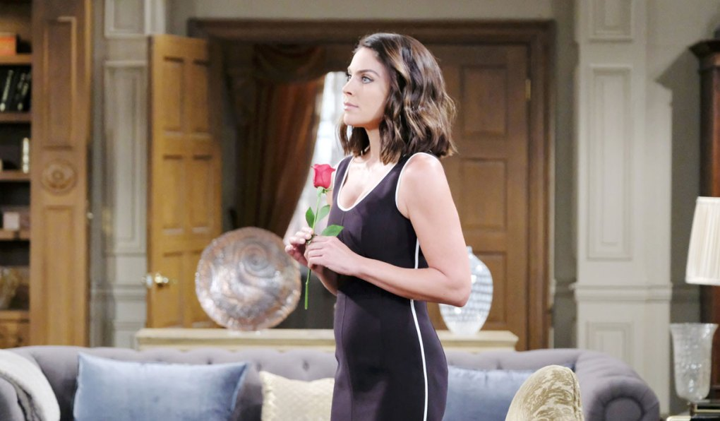 chloe holds red rose at mansion on days of our lives