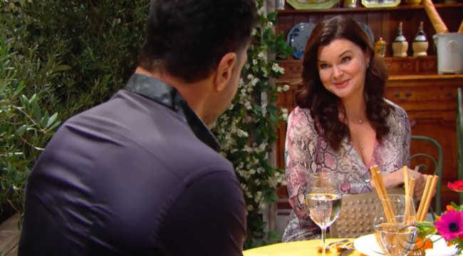 Katie and Bill set up on date bold and the beautiful