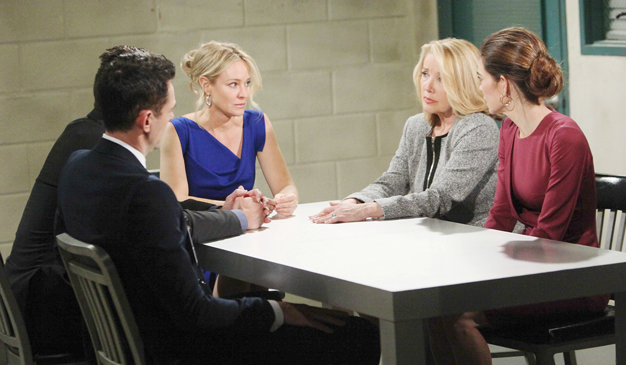 Photos of Y&R's Sharon, Nikki, and Victoria waiting the verdict