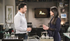 Bill talks to Quinn in his office on Bold and Beautiful