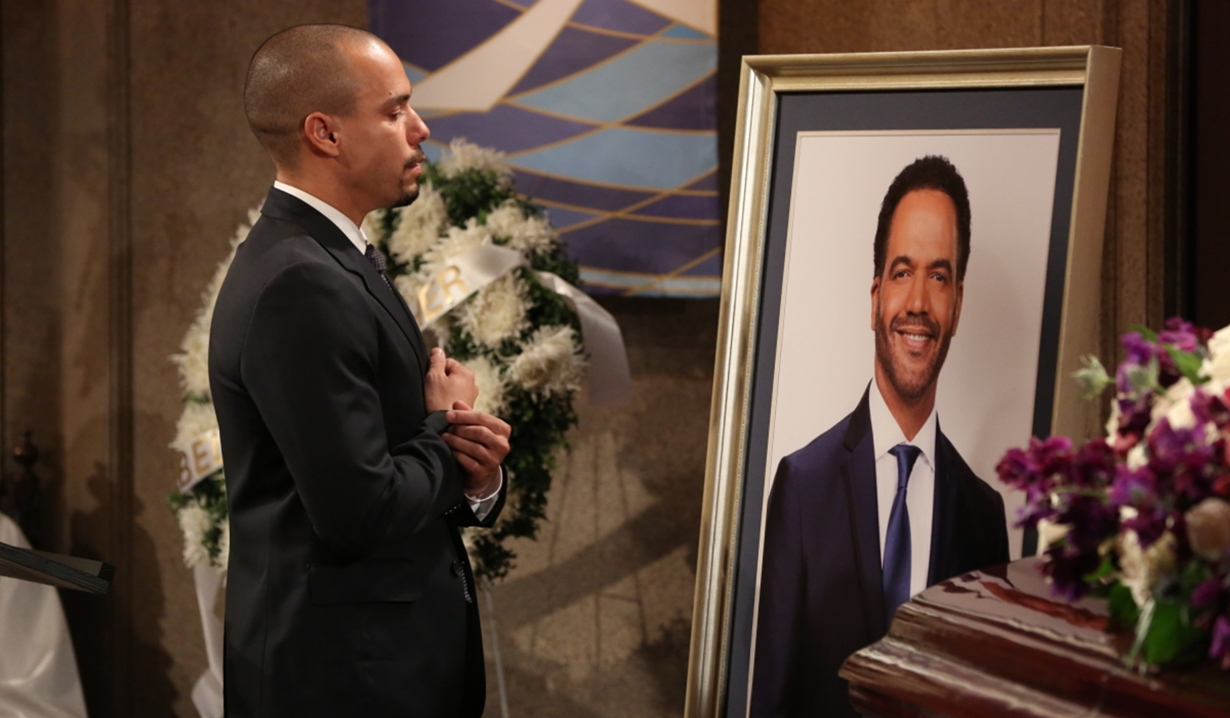 Devon at Neil's funeral on Young and Restless