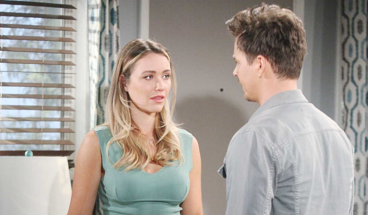 Flo and Wyatt talk about fathers on Bold and Beautiful