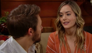 Hope shares news with Liam on Bold and Beautiful